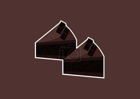 Illustration pour Illustration of a piece of chocolate cake with a sweet and delicious mix of light chocolate and dark chocolate - image libre de droit