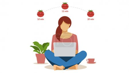Illustration pour Minuterie Pomodoro. La femme travaille sur ordinateur portable et utilise l'instrument de gestion du temps Pomodoro. Illustration vectorielle plate moderne. - image libre de droit