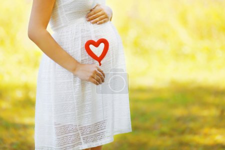 Pregnancy, maternity and new family concept - pregnant woman and