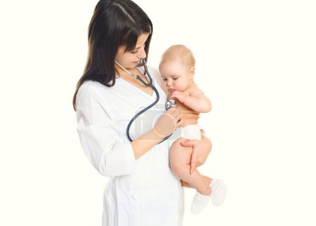 Woman doctor listens to the heart of a child on white background