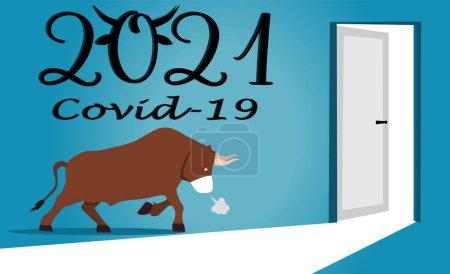 Le taureau masqué va à la porte de 2021. Ouverture de la porte pour la nouvelle année. Nouvel An arrive avec une nouvelle réalité. Concept. ext année sur un fond bleu. Illustration vectorielle. Concept de coronavirus. Covid-19
