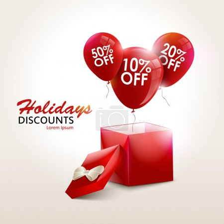 Balloons With Sale Discounts and with box. Holidays background