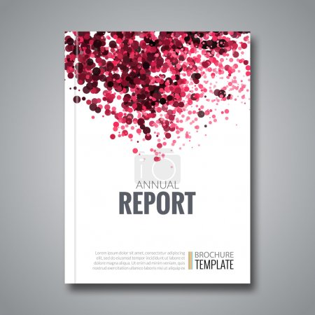 Business Report Design Background with Colorful Red Dots, simulating Watercolor. Dotwork Brochure Cover Magazine Flyer Template Banners, vector illustration