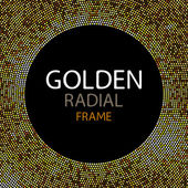 Vector gold disco lights frame or spangles round frame with empty center for text Gold circle made of tiny uneven dots abstract background Golden blobs textured round frame on black backdrop