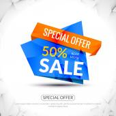Super Big Sale paper origami banner Sale background Big sale tag Sale advertising coupon Sale concept Huge Sale and special offer 50 percents off Vector illustration
