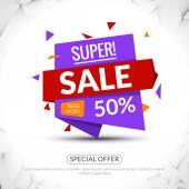 Super Big Sale paper origami banner Sale background Big sale tag Sale poster Sale vector Huge Sale and special offer 50 percents off Vector illustration