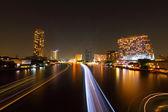 Moving blur light of ship