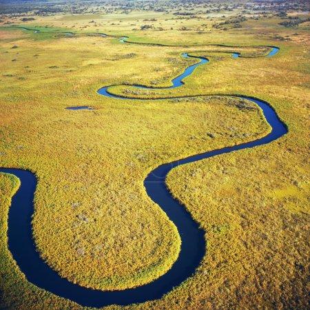 Photo pour Vue aérienne à la vue pittoresque du delta de l'Okavango, Botswana - image libre de droit