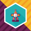 Monkey toy flat icon with long shadow,eps10...