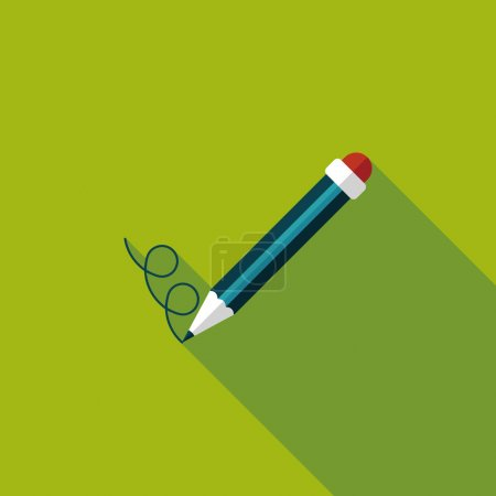 Illustration for Pencil flat icon with long shadow,eps10 - Royalty Free Image