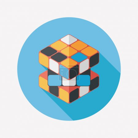Illustration for Toy cube flat icon with long shadow,eps10 - Royalty Free Image