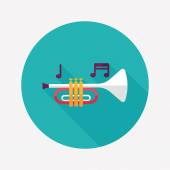 trumpet or horn flat icon with long shadoweps10