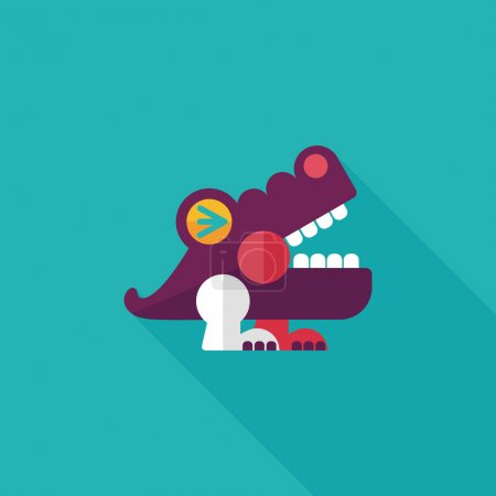 Illustration for Crocodile toy flat icon with long shadow,eps10 - Royalty Free Image