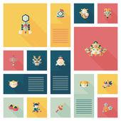 Chinese New Year flat ui background eps10