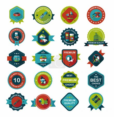 Pet badge flat banner design background set, eps10