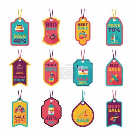 Pet tag flat banner design background set, eps10