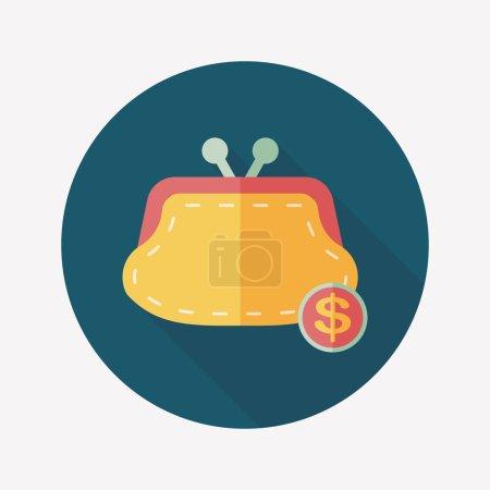 Illustration pour Shopping changement sac à main icône plate avec ombre longue, eps10 - image libre de droit
