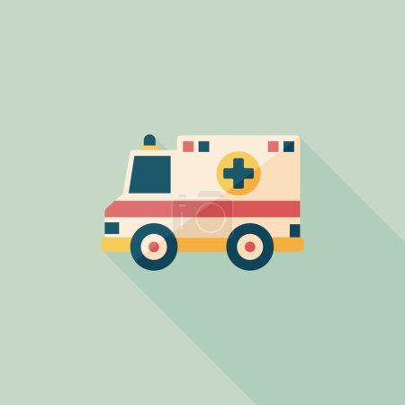 Illustration for Transportation ambulance flat icon with long shadow,eps10 - Royalty Free Image