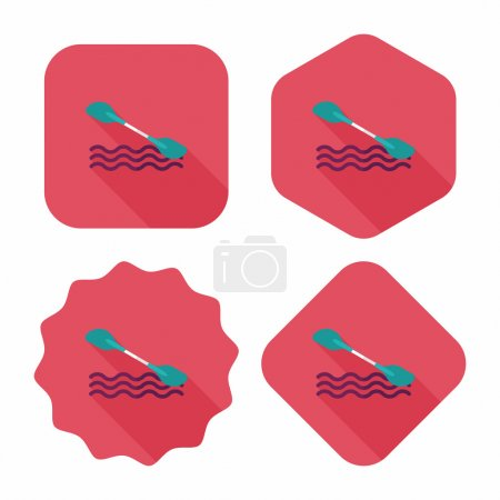 Boating paddle flat icon with long shadow, eps10
