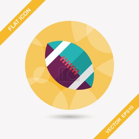 Illustration for American football flat icon with long shadow,eps10 - Royalty Free Image