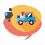 Přepravní vozík ploché ikona s dlouhý stín, eps10