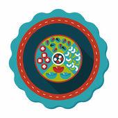 Čínský Nový rok plochý ikona s dlouhý stín, eps10, čínské ne