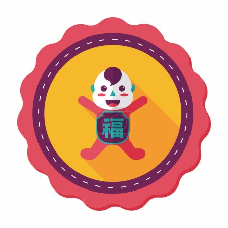 Chinese New Year flat icon with long shadow,eps10, Maitreya doll
