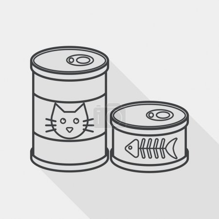 Illustration for Pet cat food can flat icon with long shadow,eps10 - Royalty Free Image