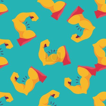 muscle man flat icon,eps10 seamless pattern background