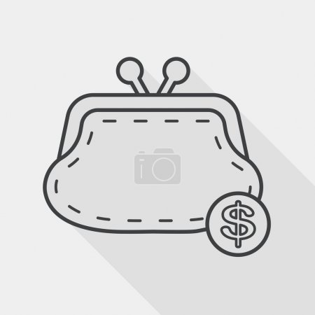 Shopping change purse flat icon with long shadow, line icon