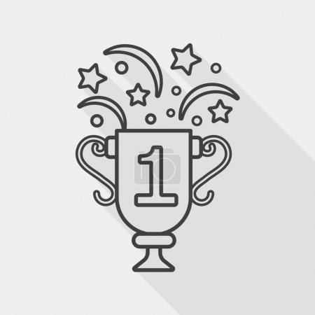 trophy cup flat icon with long shadow, line icon