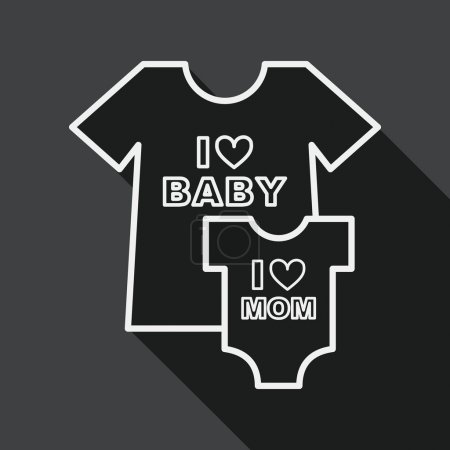 family clothes flat icon with long shadow,EPS 10, line icon