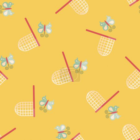 Butterfly net flat icon,eps10 seamless pattern background