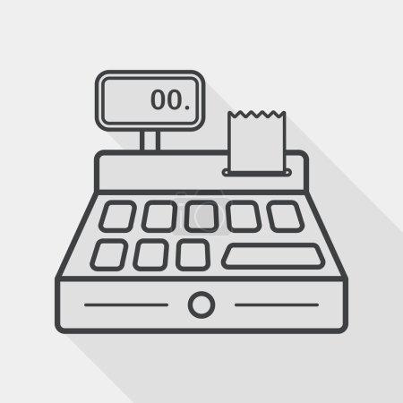 Illustration pour Shopping caisse enregistreuse icône plate avec ombre longue, icône de ligne - image libre de droit
