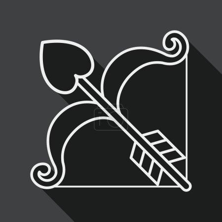 Illustration pour Saint-Valentin Journée Cupidon et flèche, icône de la ligne - image libre de droit