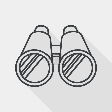 Illustration for Binoculars flat icon with long shadow, line icon - Royalty Free Image