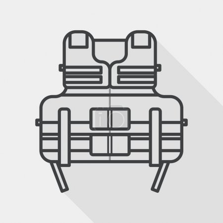 life vest flat icon with long shadow, line icon