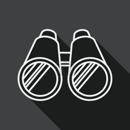 Binoculars flat icon with long shadow, line icon