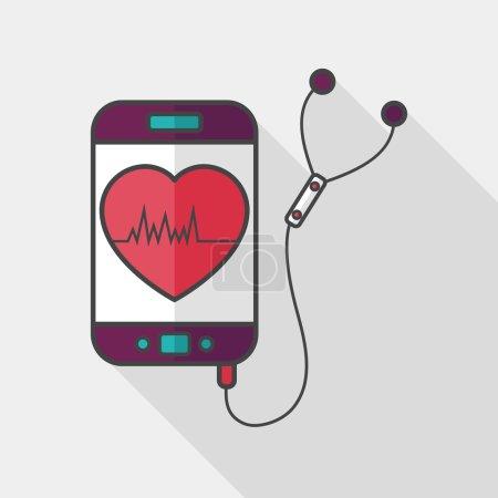 Illustration pour Équipement de sport de fréquence cardiaque icône plate avec ombre longue, eps10 - image libre de droit