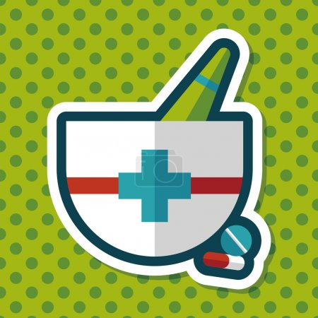 Illustration for Mortar and pestle flat icon with long shadows,eps10 - Royalty Free Image