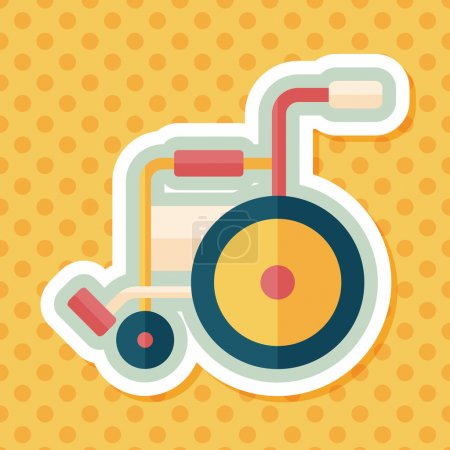 Illustration pour Icône plate en fauteuil roulant avec ombre longue, eps10 - image libre de droit