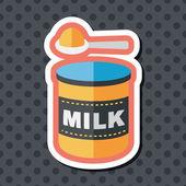 Icona piatto di latticini di latte in polvere con lunga ombra, eps 10
