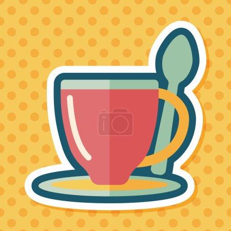 Coffee flat icon with long shadow,eps10coffee flat...