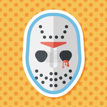 Halloween mask flat icon with long shadow,eps10