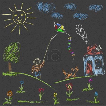 Illustration pour Dessin à la craie sur le trottoir. Dessin vectoriel - image libre de droit