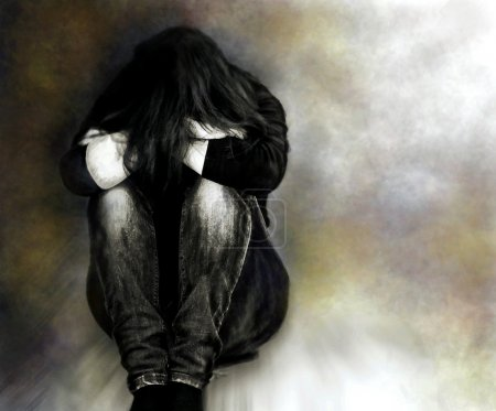 Photo for Illustration from image of sad girl - Royalty Free Image