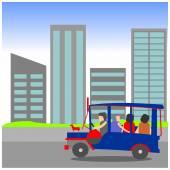 Philippine jeepney with city background