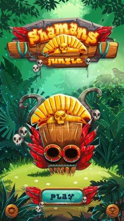Illustration pour Jungle shamans interface utilisateur de jeu mobile écran de fenêtre de jeu. Illustration vectorielle pour jeu vidéo mobile web . - image libre de droit
