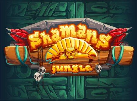 Illustration pour Jungle shamans jeu interface utilisateur écran de la fenêtre principale. Illustration vectorielle pour jeu vidéo mobile web . - image libre de droit