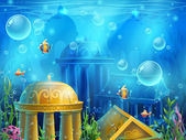 Atlantis ruins - vector background  illustration screen to the computer game Bright background image to create original video or web games graphic design screen savers